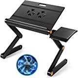 HUANUO Adjustable Laptop Stand - Foldable Laptop Table Stand with 2 CPU Cooling Fans & Detachable Mouse Pad, Portable Laptop Riser, Ergonomic Computer Stand as Standing & Sitting Desk