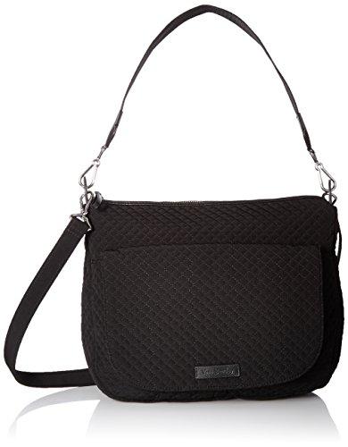 Vera Bradley Women's Microfiber Carson Shoulder Bag Crossbody Purse, Classic Black