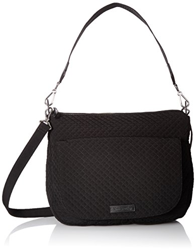 Vera Bradley Women's Microfiber Carson Shoulder Bag Crossbody Purse, Classic Black