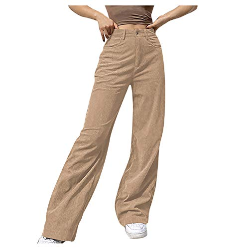 Vectry Damen Hosen Straight Leg Lange Hosen Einfarbig Mid Waist Beiläufig Weite Hosen Cord Freizeithosen Breites Bein Hose(Beige,M)
