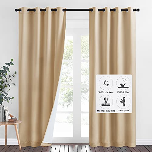 NICETOWN Thermal Insulated 100% Blackout Curtains, Dust Isolate Noise Reducing Drapes with Felt Fabric Liner, Full Light Blocking Panels for Patio (Biscotti Beige, 1 Pair, 52 inches x 95 inches)