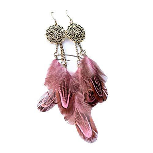 Beaums Pluma cosecha joyas largo de las mujeres hueco colgante cuelga la gota para el oído muchacha del aro del gancho del oído