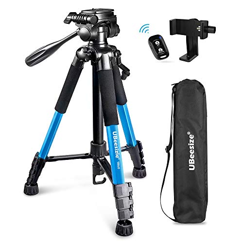 UBeesize 60-inch Camera Tripod, 5kg/11lb Load TR60 Load Portable Lightweight Aluminum Travel Tripod with Carry Bag & Bluetooth Remote, for DSLR Cameras Compatible with iPhone & Android Phone (Blue)