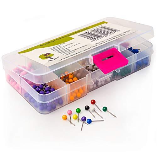 OfficeTree® ronde kopspelden - 500 stuks 10 kleuren 3,5 x 15 mm - priknaalden pushpins kaartnaalden - naaien hobby school beroep thuis - bevestiging aan kurkkaarten vilt piepschuim - in opbergdoos