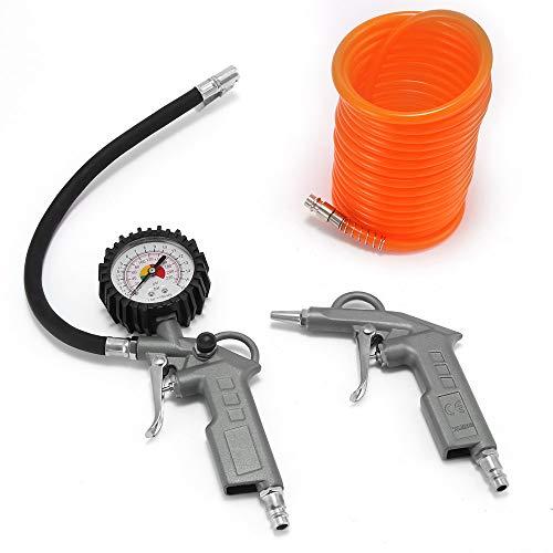 TTAototech Juego de accesorios para compresor de aire, inflador de neumáticos con manómetro, manguera de manómetro de presión de neumáticos de 3 piezas, juego de aire comprimido