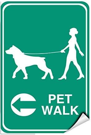Señal autoadhesiva de Vinilo con Texto en inglés Pet Walk Left Arrow Lawnboss Pet, 8 x 12