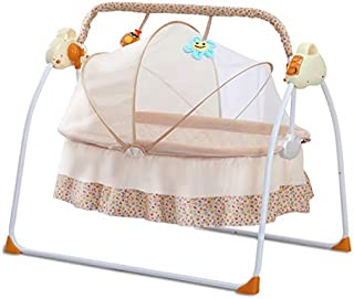 CBBAY Electric swing baby cradle Multifunctional newborn child tot little one rug rat crib babe neonatecart crib Bed Music charged electrifying bassinet crib cot rocker portable Automatic collapsible chair rockingoscillation rocker sway oscillate move back and forth move to and fro wave wag waggle rock infant baby product (Yellow)