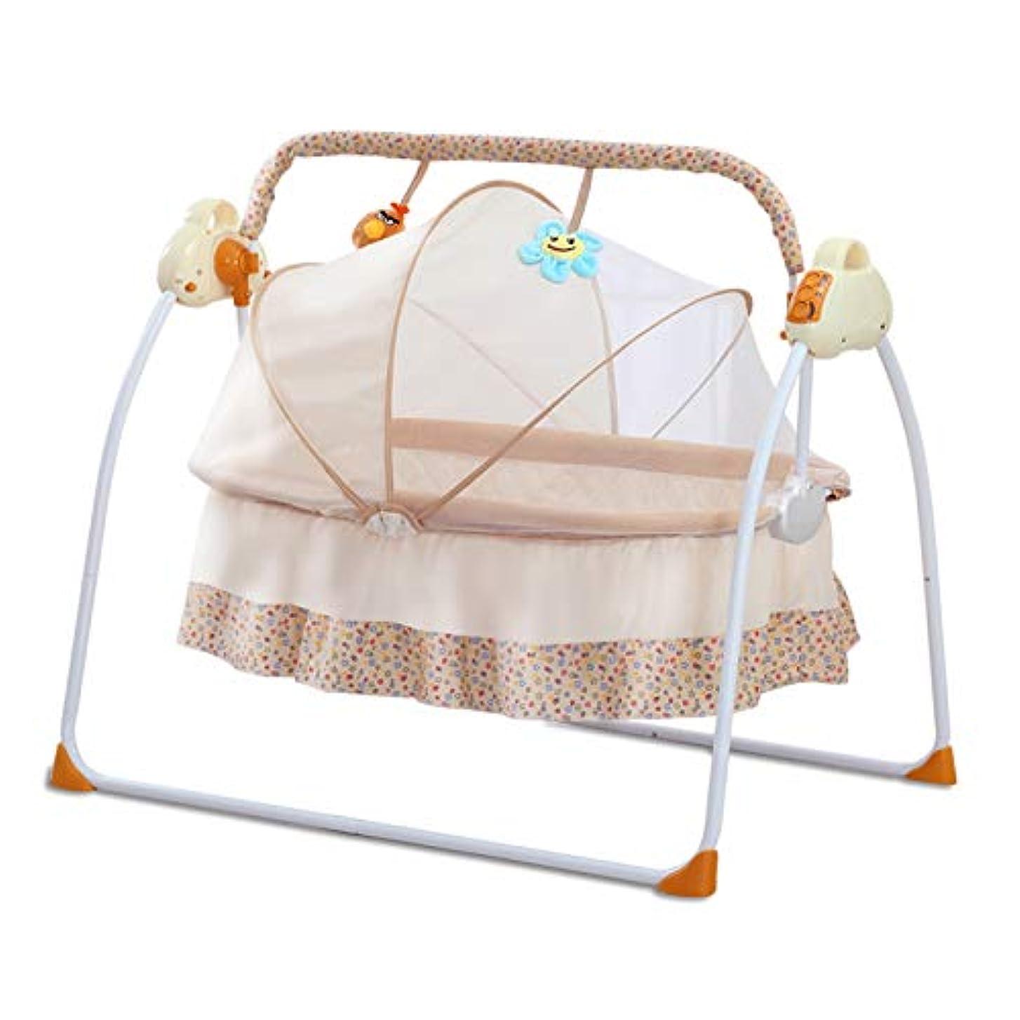 忍耐帰る愚かな赤ちゃんゆりかご クレードル 電動 ブランコベビーベッド新生児睡眠揺籃 揺れるベビーバスケット(イエロー)