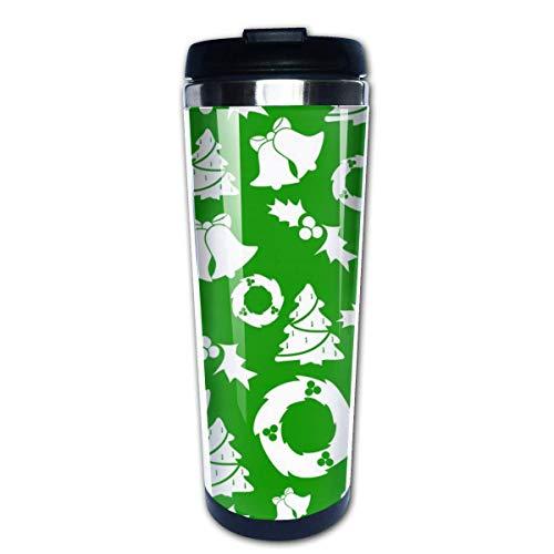 Taza de café de viaje Merry Christmas Tree Bell Taza de café con aislamiento de acero inoxidable Botella de agua deportiva 13.5 Oz (400 ml) MUG-5887