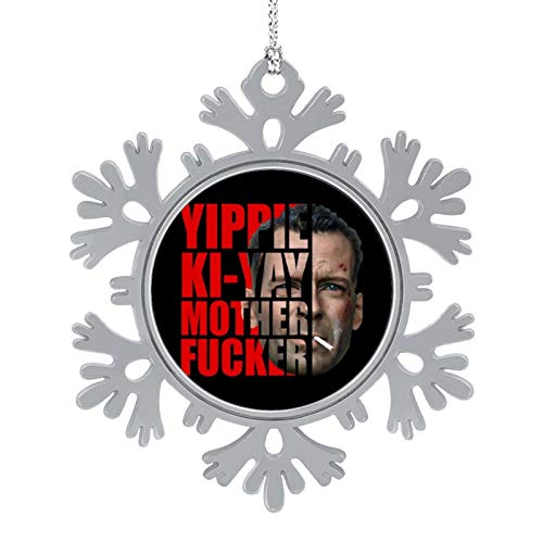 BEDKAGD Die Hard John McClane Half Head Text Christmas Hanging snowflake Alloy decorations,Christmas souvenirs, personalized holiday decorations.