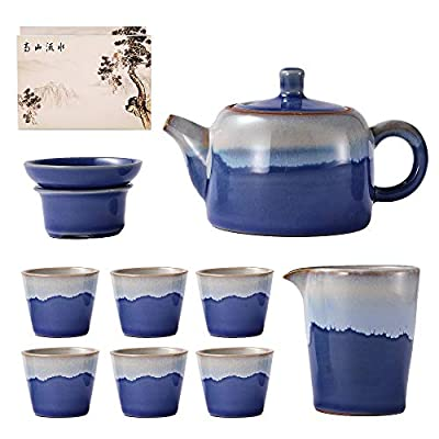 KOLDA Ceramic Tea Pot Cup Set Chinese Tea Set with Strainer Porcelain 1 Pot 6 Teacup All in One Gift for Housewarming,Wedding, Party (Blue)