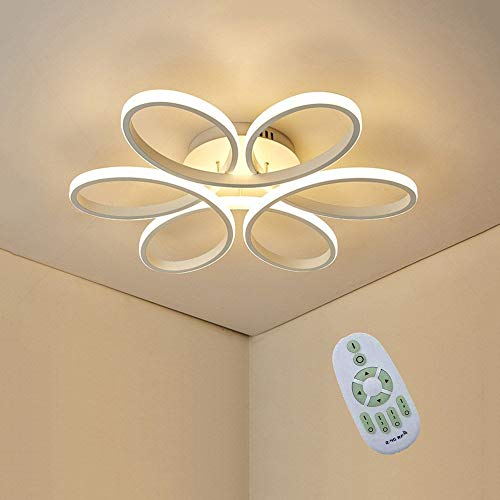 JDMYL 75W LED De Luz De Techo, Creativa De La Flor De Techo En Forma De Luz, Aluminio Blanco Cuerpo De La Lámpara De Acrílico Pantalla Salón Dormitorio Luz De Techo, Regulable 3000K~6000K Φ58 * H10cm