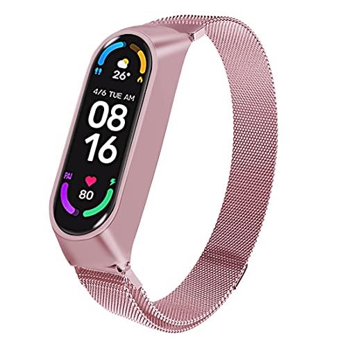 Superpow Correa para Xiaomi Mi Band 6 / Xiaomi Mi Band 5 / Amazfit Band 5, Pulsera Metal Correas Imán de Actividad Reloj Wristband Recambio Bandas de Acero Inoxidable magnético Strap (Rosa)