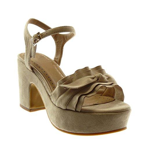 Angkorly - Scarpe Moda Sandali Decollete con Tacco con Cinturino alla Caviglia Zeppe Donna con Volant Nodo Fibbia Tacco a Blocco Alto 8.5 CM - Beige WH868 T 38