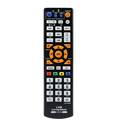 MJJCY Applica a Regolatore di Controllo remoto Universale Intelligente IR Telecomando con Funzione di apprendimento per TV CBL Dvd SAT per L336. Sostituisci Il Telecomando (Color : Black)