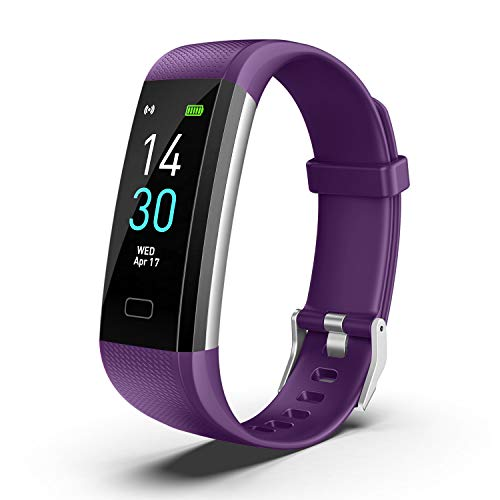 UM Fitness Tracker 2020 New Version IP68 Waterproof, Fitness Watch Heart Rate Monitor with Calories/Step Counter Sleep Tracker Stopwatch Health Tracker Fit Watch for Men Women Kids (Violet)