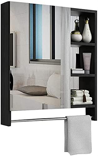 Gabinete espejo espacio de pared espacio de aluminio baño alta definición anti-niebla maquillaje espejo de almacenamiento integrado toalla barra multicapa rack impermeable ( Color : Black 60*68cm )