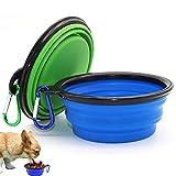 Plegable Viajes Silicona Gatos Perros Bowl, Portátil Pet Food Cuenco de Agua 2 Juegos, Viajes Comedero para Perro Bowl, llevarlo, Ahorrar Espacio, Puede Utilizar como Frisbee (Azul y Verde)