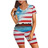 Women Independence Day Sports Tracksuits Print V-Neck Short Sleeve Two Piece Running Suit