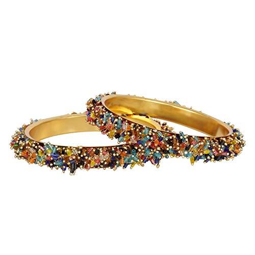 Efulgenz Modeschmuck Indische Bollywood 14 K Gold plattiert Kristall Perlen Multicolor Armreif Set (2 Stück) für Frauen - 2.20