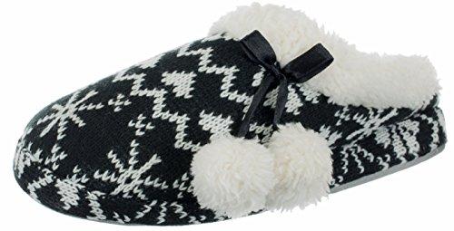 Brandsseller Damen Hausschuh Pantoffeln Flausch gefüttert mit Bommel und Rutschfester Sohle Norweger-Design Schwarz 38