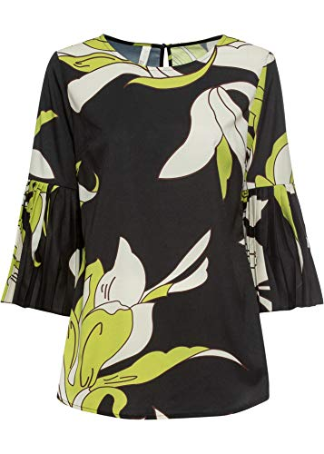 bonprix Bluse mit Plissee Ärmeln schwarz/grün floral 42 für Damen