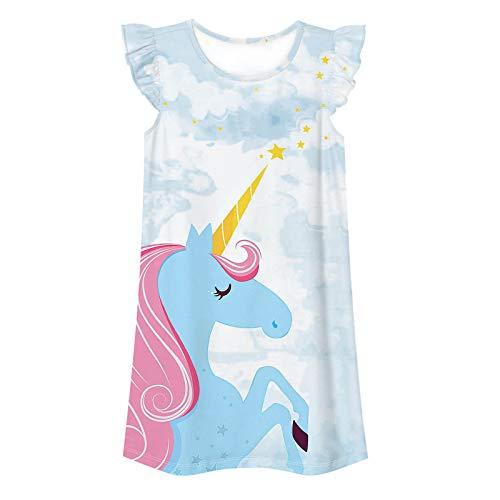 iiniim Mädchen Schlafkleid Einhon Nachthemd Kurzarm Pferd Kleid Regenbogen Prinzessin Nachthemd Kinder Pyjama Nachtwäsche Schlafanzug Einhon Hell Blau 122-128