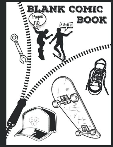 Blank Comic Book: Blank Comic Book Sketchbook For Kids And Adults To Draw Your Own Cartoon For Skateboarders And Bigfoot And Skateboard Lovers