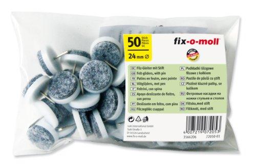fix-o-moll Filzgleiter mit Stift 24 mm 50 Stück weiß, 3566206