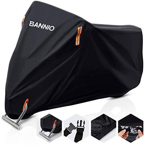 BANNIO Funda Moto,210D Oxford Funda Protector Cubierta de la Motocicleta con Banda Reflectante, Impermeable A Prueba de UV Resistente al Viento Lluvia Nieve Cubre Moto,Funda para Moto XXXL 265cm,Negro