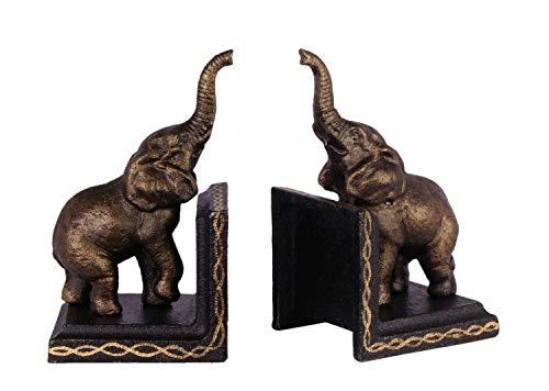 2 Buchstützen Buchständer Elefant Statue Figur Skulptur Eisen 15cm Antik-Stil