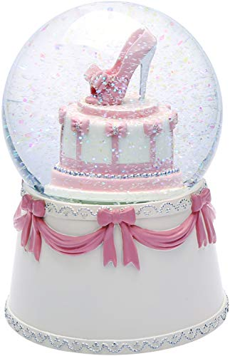 J JHOUSELIFESTYLE Musical Snow Globes for Girls, High-Heel Rotating as Music Plays, Perfect Snow Globe Music Boxes for Women Granddaughters Christmas/Valentines Day/Birthday