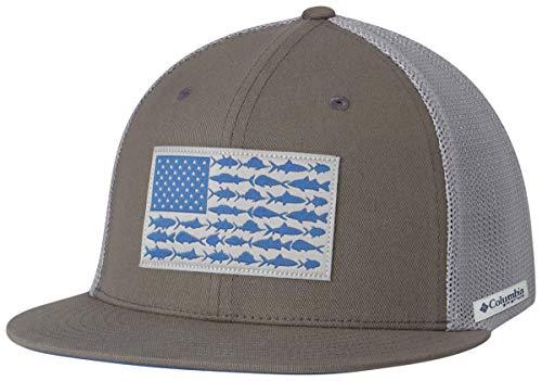 Columbia Unisex PFG Mesh Flat Brim Ball Cap, Titanium, Fish Flag, Small/Medium