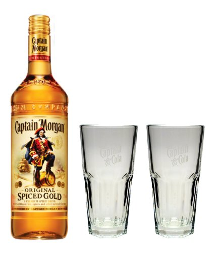 Captain Morgan Spiced Gold Rum 35% 0,7l Set + 2 Longdrinkgläser