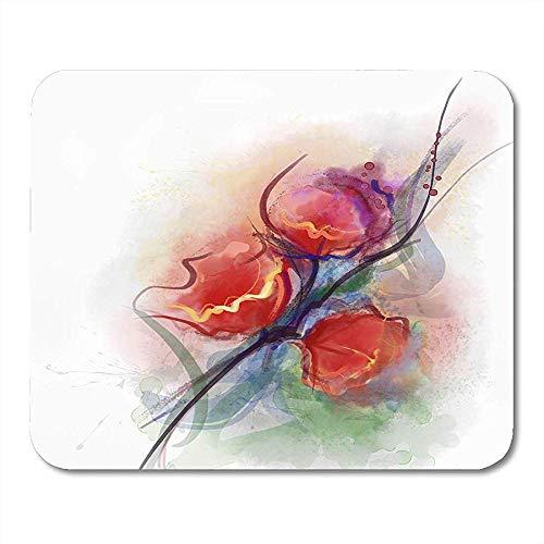Muis Pads Kleurrijke Vaas Bloemen Schilderijen Rode Poppy Bloemen In Kleur Op Grunge Artiest Muismat Voor Notebooks Computers Muismatten