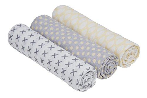 LÄSSIG Baby Spucktuch Pucktuch Mullwindeln Musselintuch 3er Set Baumwolle 85 x 85 cm/Swaddle & Burp Blanket L Riddle
