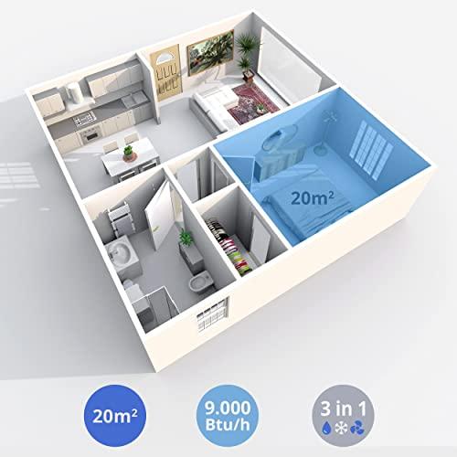 Inventor Chilly, Aire Acondicionado Portátil R290 de 2270 frigorías - 9000BTU/h, 3 modos en 1 (Refrigeración, Deshumidificación, Ventilación), Mando a Distancia (RAEE N° ES6988)