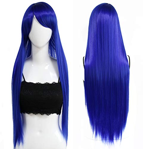 32inches/80cm Long Straight Anime Costume Cosplay Party Wig Silky Heat Resistant Synthetic Full Hair Wigs With Bangs For Women (Blue)