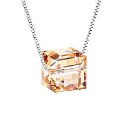 Sterling Silver Crystals With Golden Swarovski Cubic Pendant Necklace