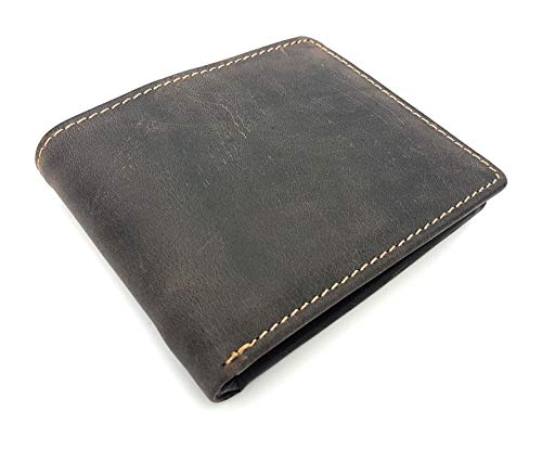 rustikale Vintage Geldbörse naturbelassenes Vollrind-Leder Portemonnaie mit RFID Schutz Jockey Club Toro Dunkelbraun