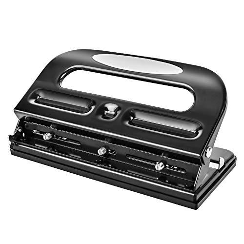 Amazon Basics 3 Hole Punch, Semi-Adjustable, 30 Sheet Capacity, Black