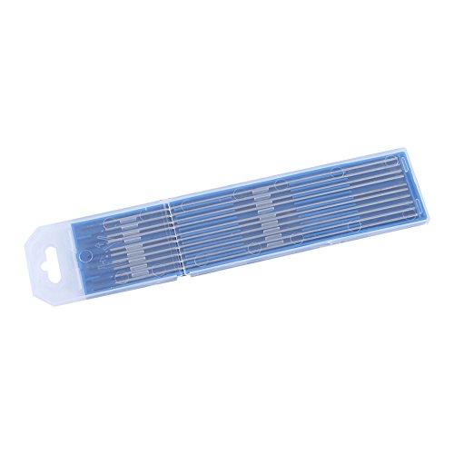 Varilla de electrodo de tungsteno de 10 piezas, electrodos de tungsteno de soldadura TIG, electrodo de aguja de arco, electrodo lantanado, punta azul 1,0/1,6/2,4mm(2.4 * 150mm)