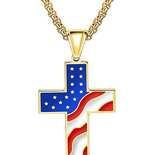 chaosong shop Colgante religioso con cruz de acero inoxidable unisex, grabado con patrón de bandera americana