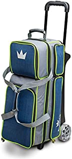 Brunswick Crown Deluxe Triple Roller Bowling Bag, Navy/Lime