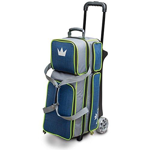 Brunswick Crown Deluxe Bowlingtasche für 3 Rollen, Marineblau/Limettengrün