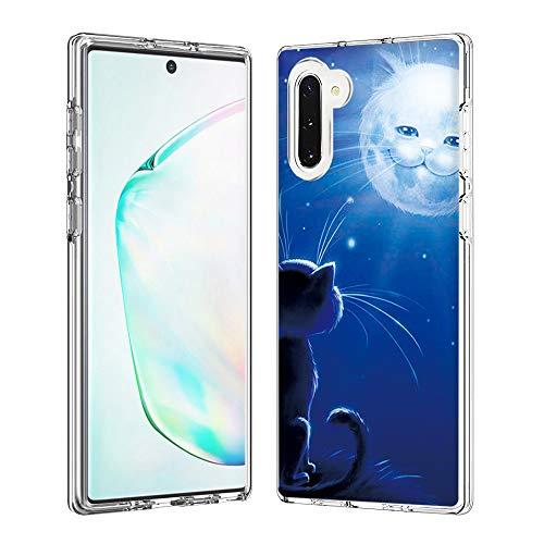 Coque Samsung Galaxy Note10/Note10 5G, Silicone Bumper, Transparent PC + TPU Hybride Boîtier de Protection avec Carte de Mode (Cat Sun)