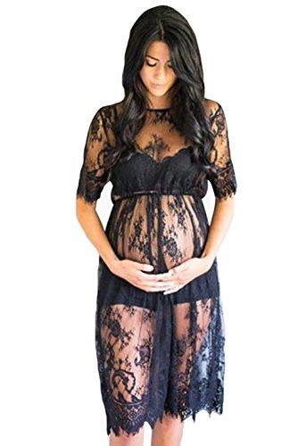NiSeng Mujer Embarazada Cordón De La Pestaña Manga Corta Fotografía Vestido Embarazada Cámara Herramienta Negro M