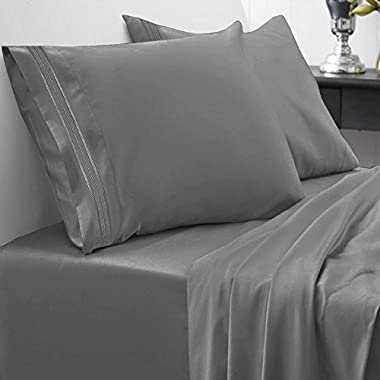 1500 Series Bed Sheet Set - HIGHEST QUALITY Brushed Microfiber 1500 Bedding - Wrinkle, Fade, Stain Resistant - Hypoallergenic 4 Piece Bed Sheet Set - Queen, Gray