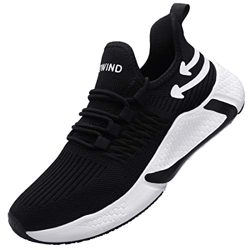 Blowind Mens Running Shoes Arch Support Running Shoes for Men Running Slip On Fashion Sneakers Men Black Shoes M201 BW 11