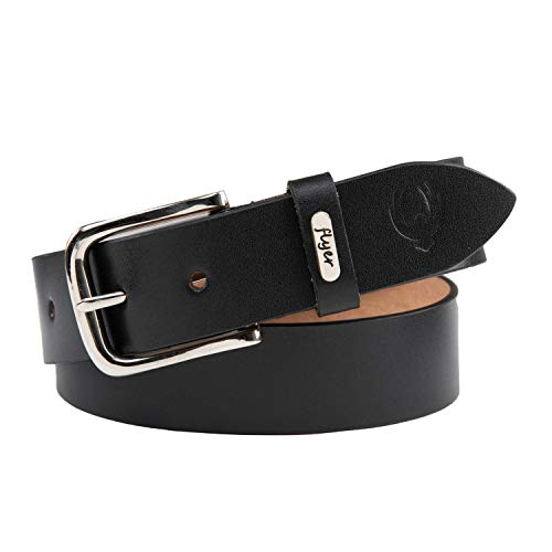 Flyer Men's Leather Belt (Formal/Casual) (Colour -Black) (Size -28) Buckle Adjustable Size Genuine Leather (BL808-28) (Pack of 1)